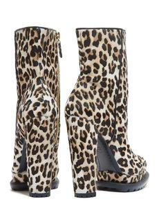 Alice + Olivia Holden Genuine Calf Hair & Leather Leopard Print Platform Ankle Boot
