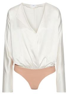 Alix Nyc Woman Wrap-effect Silk-charmeuse Bodysuit Ivory