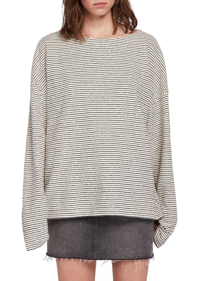 AllSaints Adelise Stripe Long Sleeve Cotton Tee