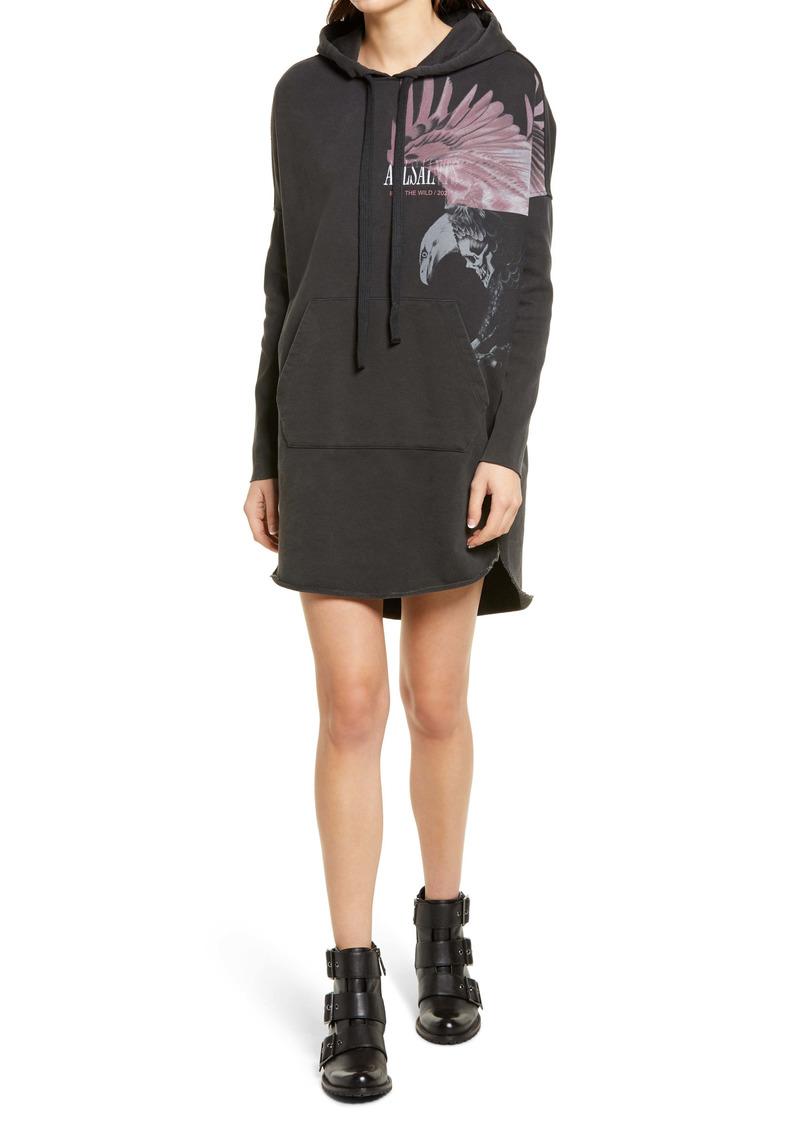 AllSaints Aquila Long Sleeve Graphic Hoodie Dress