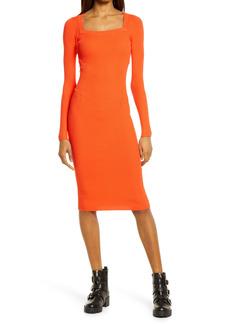 AllSaints Bardi Rib Long Sleeve Midi Sweater Dress