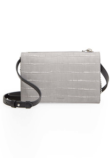 ALLSAINTS Claremont Croc Embossed Leather Crossbody