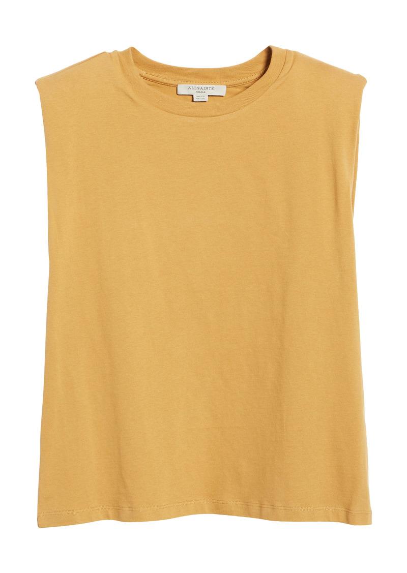 AllSaints Coni Shoulder Pad Cotton Sleeveless Muscle T-Shirt