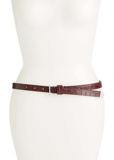 ALLSAINTS Croc Embossed Leather Skinny Belt