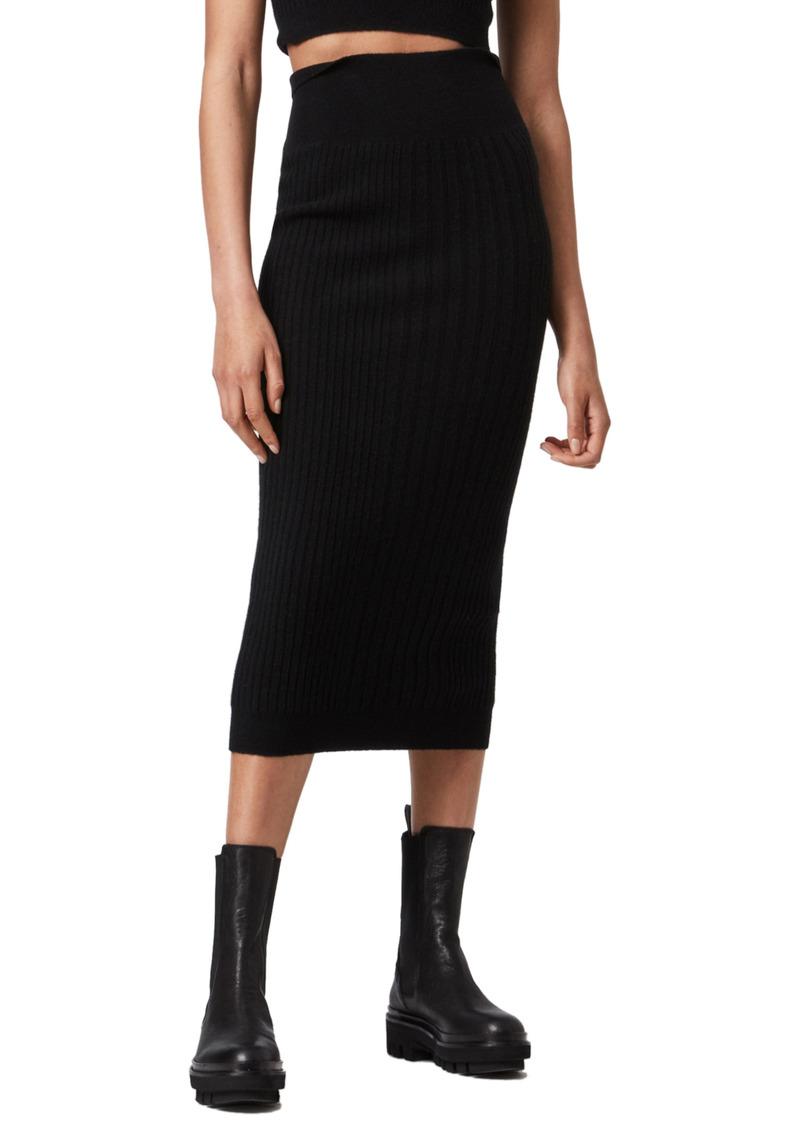 AllSaints Enya Ribbed Wool Blend Skirt