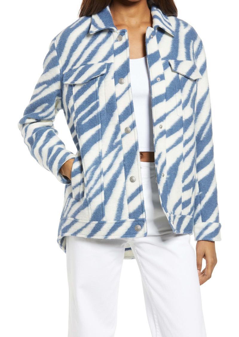 AllSaints Faye Zebra Stripe Wool Blend Jacket