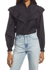 AllSaints Fiala Frill Button-Up Blouse