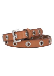 AllSaints Flip Tie Textured Grommet Leather Belt