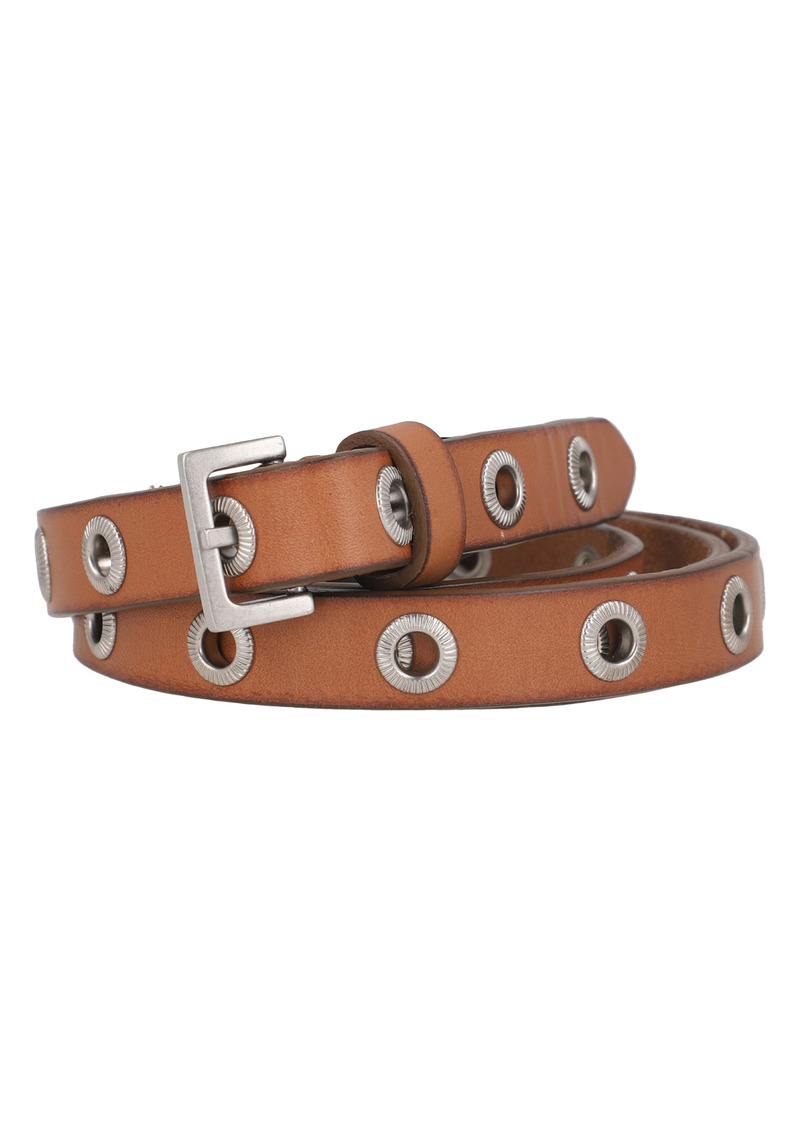 AllSaints Flip Tie Textured Grommet Leather Belt