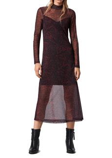 AllSaints Hanna Stanza Mesh Long Sleeve Midi Dress