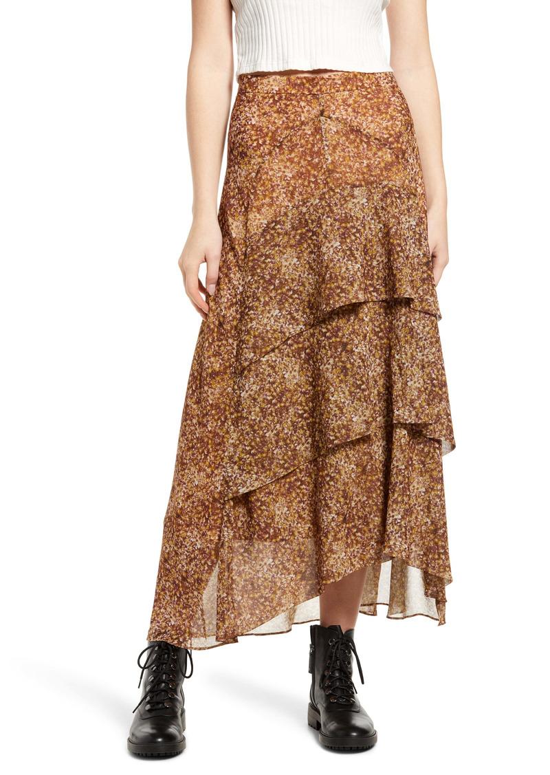 AllSaints Kali Tabby Ruffle Faux Wrap Skirt