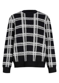 AllSaints Lockdown Plaid Wool Blend Crewneck Sweater