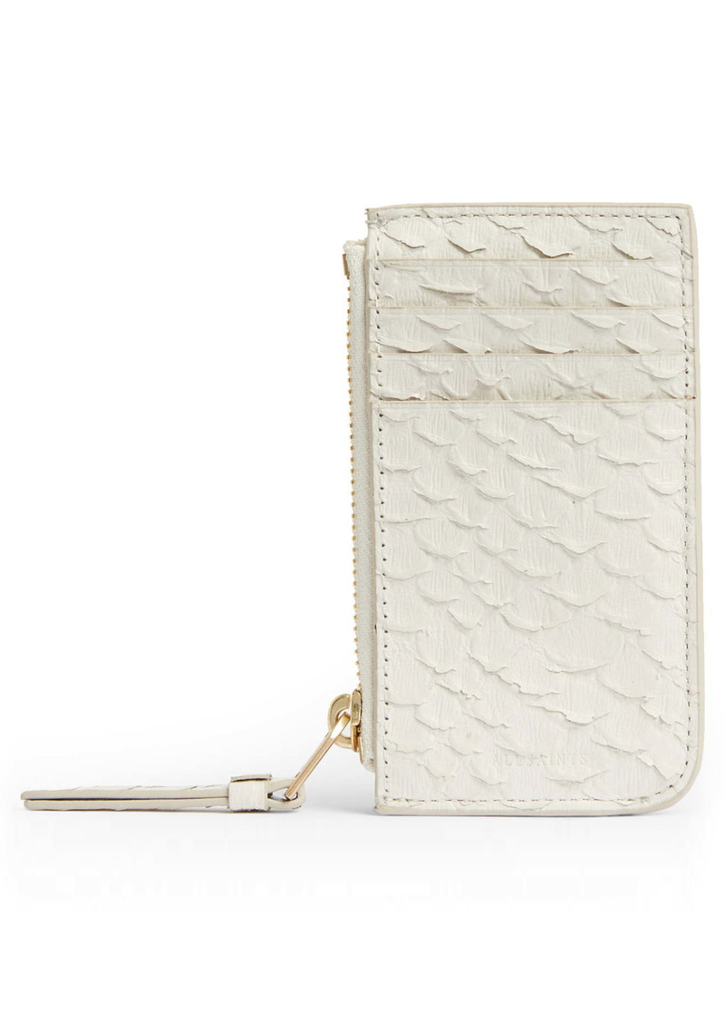 AllSaints Marlborough Snake Embossed Leather Zip Wallet