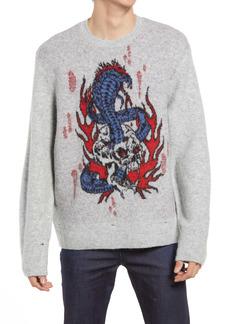 AllSaints Men's Viper Saints Distressed Intarsia Sweater