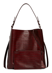 ALLSAINTS Polly Croc Embossed Leather North/South Tote with Removable Pouch