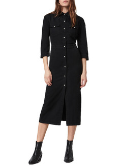 AllSaints Polly Front Button Denim Midi Dress