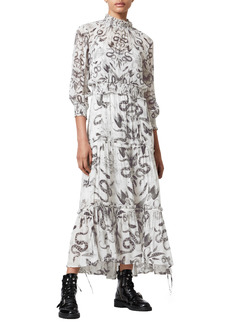 AllSaints Taya Somnium Print Maxi Dress with Removable Long Sleeve Top