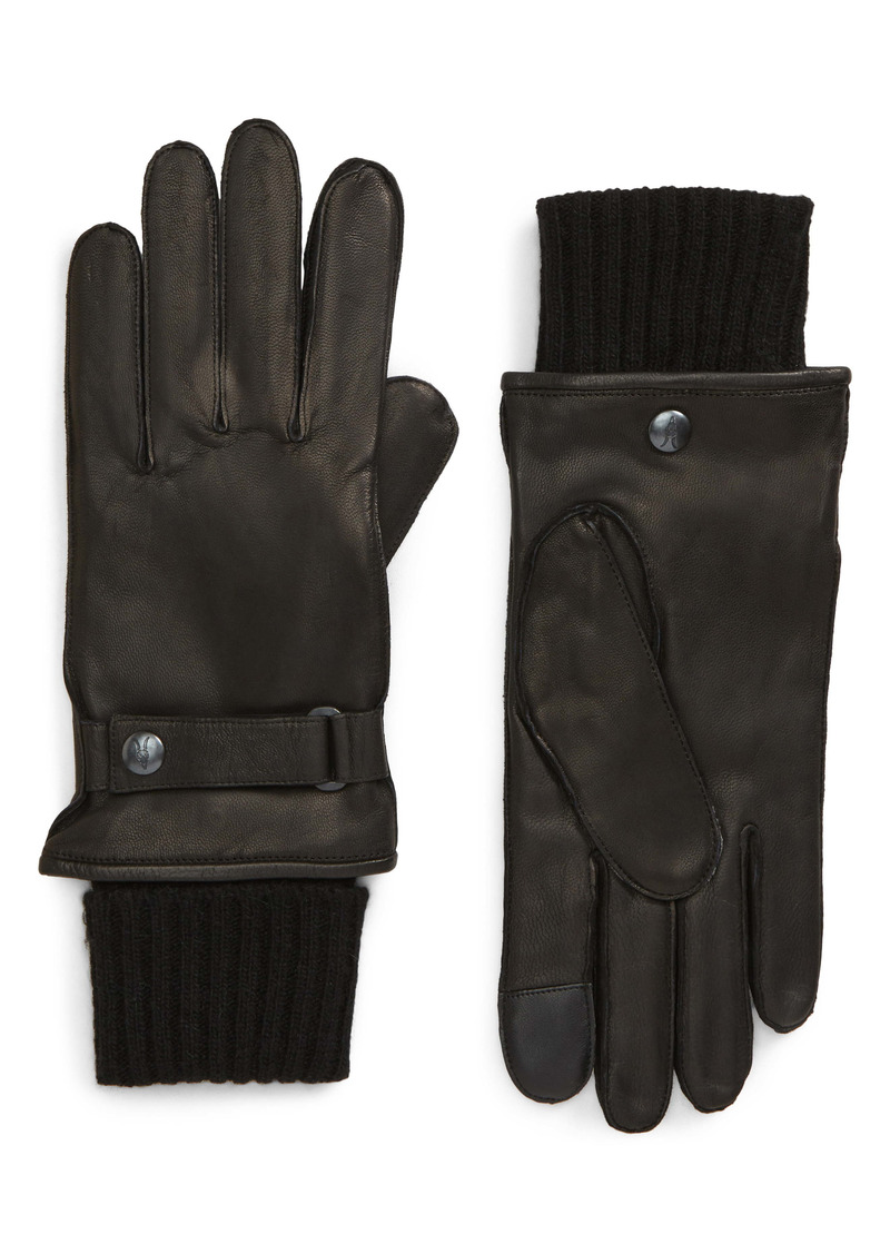 AllSaints Touchscreen Compatible Deerskin Leather Gloves with Removable Wool Lining