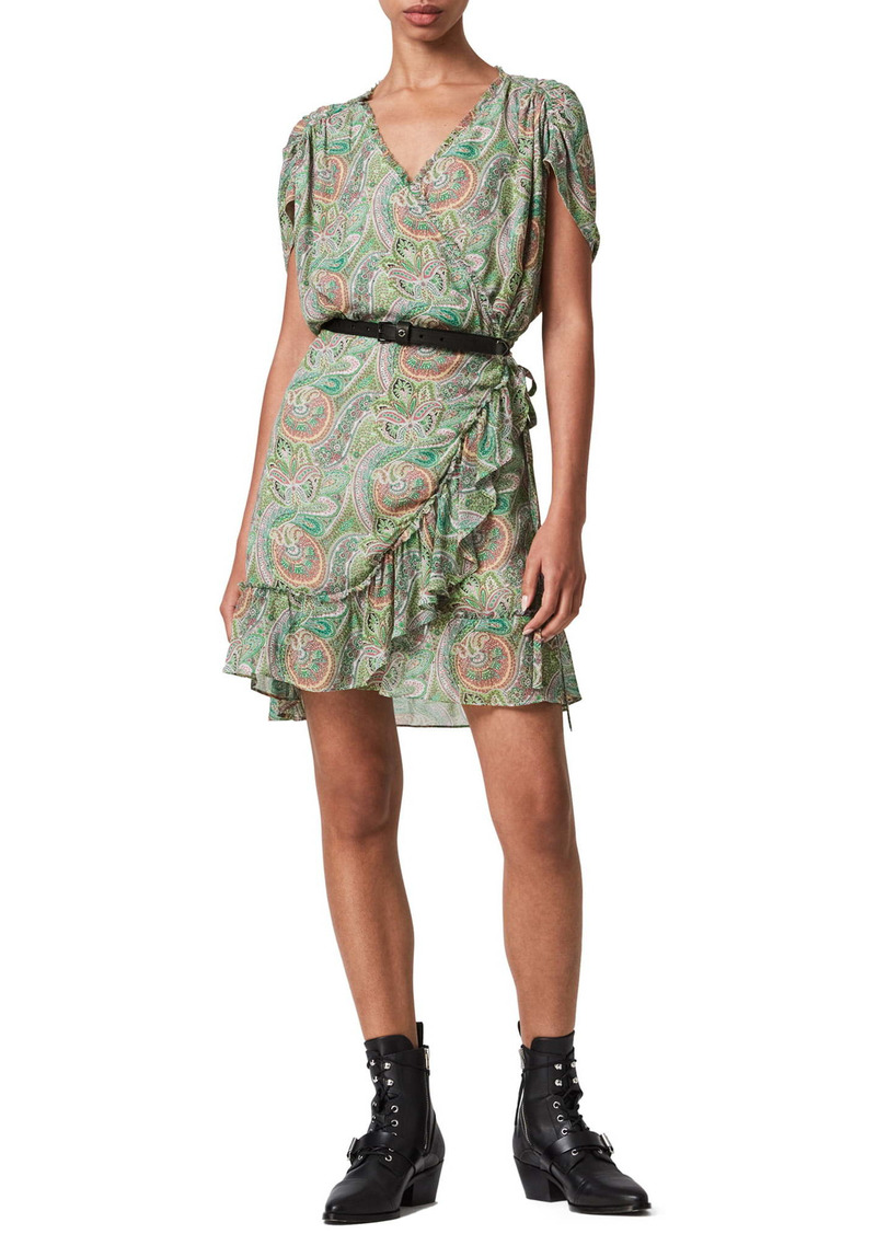 AllSaints Zini Shahmina Paisley Wrap Dress