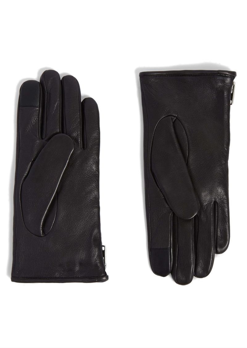 AllSaints Zip Deerskin Leather Gloves