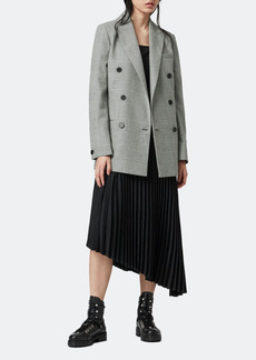 AllSaints Astrid Check Double Breasted Wool Blazer