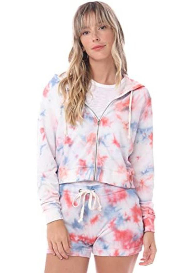 Alternative Apparel Tie-Dyed Lightweight Grench Terry Cropped Zipped Hoodie