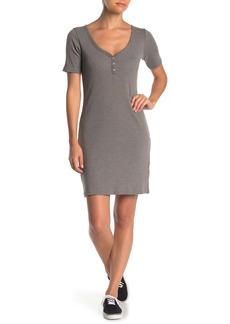 Alternative Apparel V-Neck Ribbed Knit Henley Dress