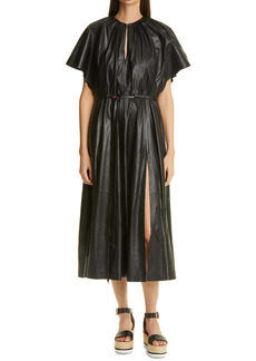Altuzarra Romy Leather Drawstring Midi Dress