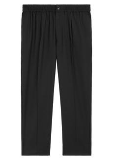 AMI Elasticized-Waist Cropped Trousers