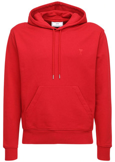 AMI Embroidered Logo Cotton Jersey Hoodie
