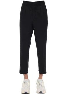 AMI Pleated Cotton Twill Carrot Pants