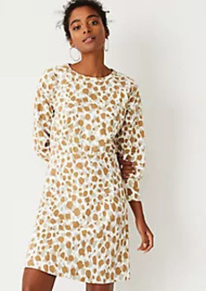 Ann Taylor Animal Print Flare Sweatshirt Dress