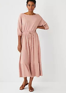 Ann Taylor Dolman Drawstring Midi Dress