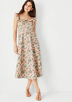 Ann Taylor Floral Cotton Linen Ruffle Square Neck Flare Dress