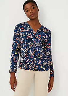 Ann Taylor Floral Mixed Media Pleat Front Top