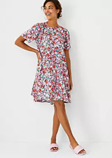 Ann Taylor Floral Puff Sleeve Shift Dress