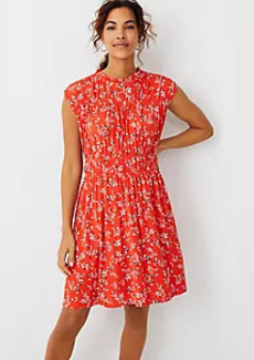 Ann Taylor Floral Shirred Flare Dress