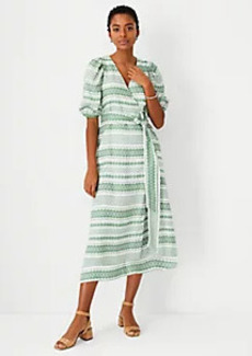 Ann Taylor Floral Striped Jacquard Puff Sleeve Midi Dress