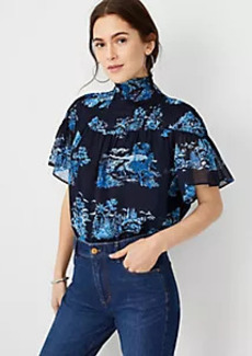 Ann Taylor Floral Toile Smocked Yoke Top