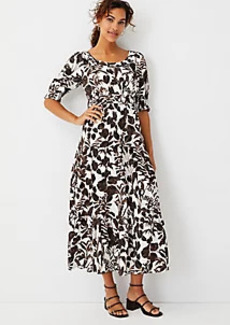 Ann Taylor Foliage Tiered Midi Dress