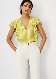 Ann Taylor Gingham Mixed Media Ruffle Sleeve Top