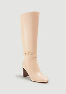 Ann Taylor Isabella Leather Buckle Heeled Boots