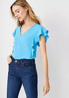 Ann Taylor Mixed Media Ruffle Sleeve Top