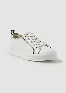 Ann Taylor Natalia Snake Print Trim Leather Sneakers