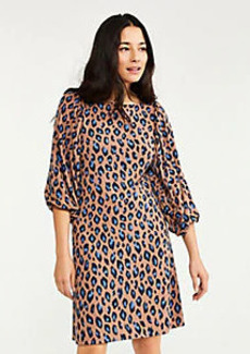 Ann Taylor Petite Animal Print Shirred Sleeve Shift Dress