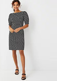 Ann Taylor Petite Polka Dot Pleated Puff Sleeve Sheath Dress