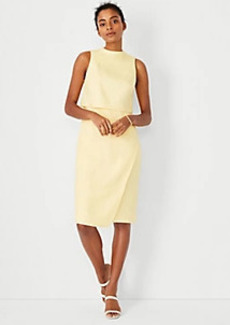 Ann Taylor The Mock Neck Wrap Dress in Linen Blend