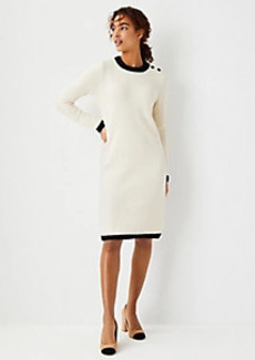 Ann Taylor Tipped Shoulder Button Sweater Dress