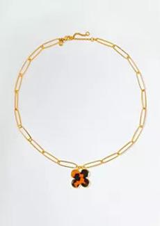 Ann Taylor Tortoiseshell Print Clover Pendant Necklace