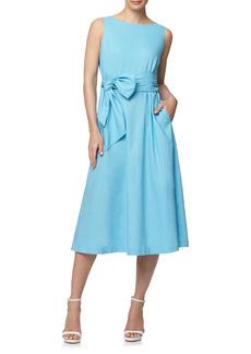 Anne Klein Belted Linen Blend Midi Dress